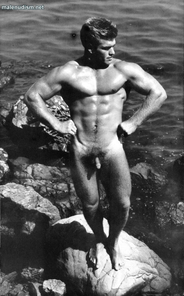 nude muscle man on the rock