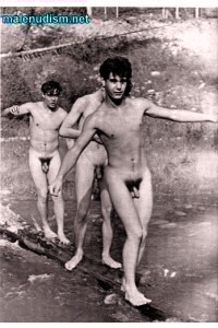 three naked boys nudists outdoors